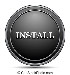 Install icon, black website button on white background.