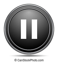 Pause icon, black website button on white background.
