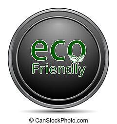 Eco Friendly icon, black website button on white background.