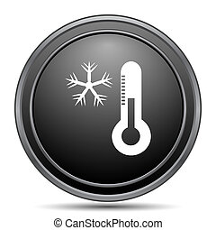 Snowflake with thermometer icon, black website button on...