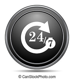 24/7 icon, black website button on white background.
