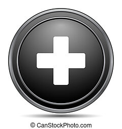 Medical cross icon, black website button on white...