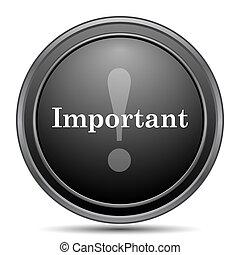 Important icon, black website button on white background.