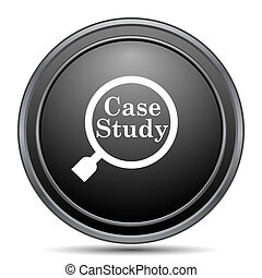 Case study icon, black website button on white background.