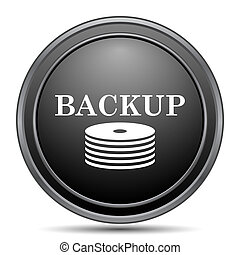 Back-up icon, black website button on white background.