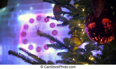 23-56 on Christmas clock and fir tree in Moscow - Christmas...
