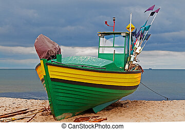 Fishing boat - A fishing boat at the seaside