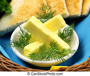 Tray Of Butter - Tray of butter sticks with Italian parsley...