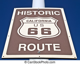 Historic Route 66 Street Sign - Route 66 road sign deep in...