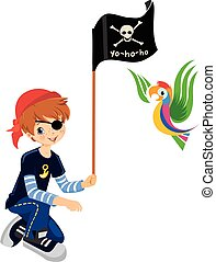 Pirate boy - A boy dressed as a pirate with a parrot,...