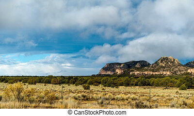 New Mexico Landscape - Storm clouds move quickly over the...