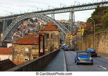 Dom Luis iron Bridge in Porto Old Town, Portugal.