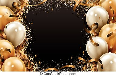 party balloon background - party balloon and ribbon...