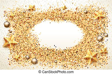 therapeutic beach background, with golden stars, silver...