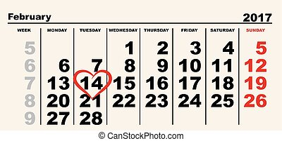 February 14 Valentines Day Calendar. Vector illustration