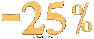 Percent off. Discount. Minus 25 twenty five percent, numerals isolated on white background