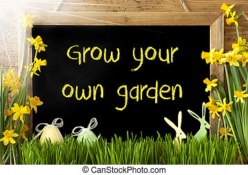 Sunny Narcissus, Easter Egg, Bunny, Text Grow Your Own...