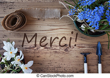 Spring Flowers, Merci Means Thank You - French Text Merci...