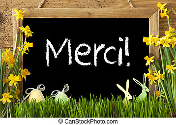 Narcissus, Easter Egg, Bunny, Merci Means Thank You -...