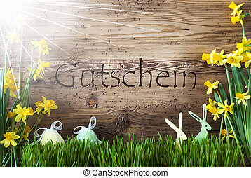 Sunny Easter Decoration, Gras, Gutschein Means Voucher -...