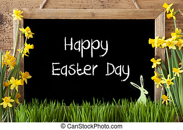 Narcissus, Bunny, Text Happy Easter Day - Blackboard With...