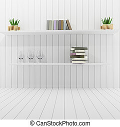 interior shelf and book in the white room design loft in 3D rendering