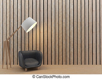 interior sofa and lamp design in wood room in 3D rendering