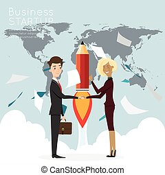 Businessman handshake with worldmap for start up business.