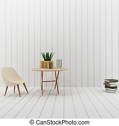 interior with white loft room design in 3D rendering