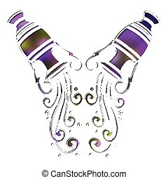 Bright amphora, zodiac Aquarius sign - Bright colorful...