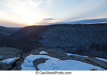 Quiet sunset at Blackwater Falls Park in winter, West...