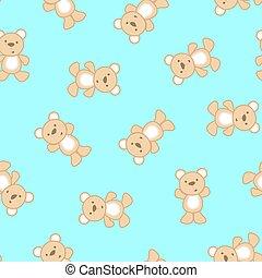 Cute teddy bear in a seamless pattern