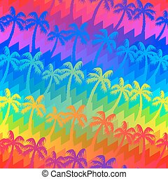 Tropical rainbow palm trees seamless pattern .