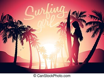 Surfing girl and sunrise at a tropical beach