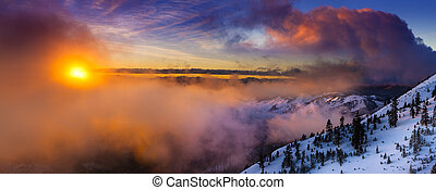 Sunrise in winter on Slide Mountain near Reno, NV on the Mt....