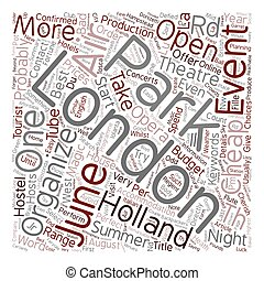 London open air events in june text background wordcloud...