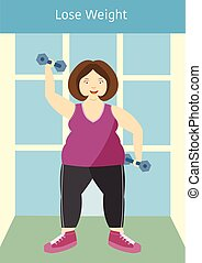 Large girl posing with an exercise dumbbells,lose weight,Vector illustrations