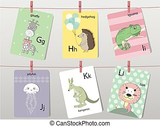 Cute zoo alphabet with funny animals,Letters,Animal alphabet,Learn to read,Vector illustrations
