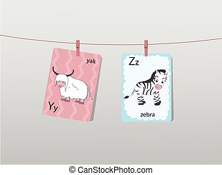 Cute zoo alphabet with funny animals,Letters,Animal alphabet,Learn to read