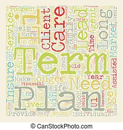Long Term Care The Who The What and The How text background wordcloud concept