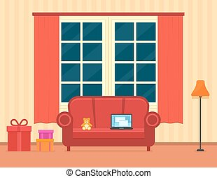 room interior with holiday gift