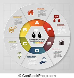 Abstract 6 steps pie chart infographics elements.