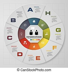 Abstract 8 steps pie chart infographics elements.