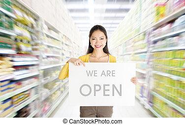 wir, zeichen, Brett, abteilung, rgeöffnete, kaufmannsladen