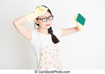 Young Woman Cleaning with sponge - Young Asian cleaning lady...