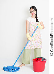 Young Woman Cleaning with mop and bucket