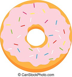 Pink glazed ring doughnut with colorful sprinkles. Vector...