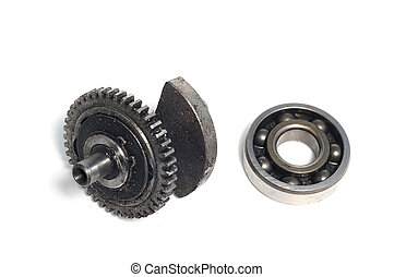 Part of crankshaft of motorcycle on white background