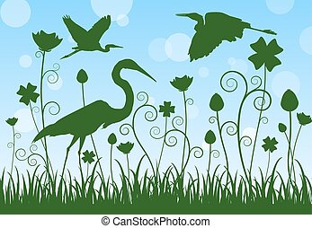 silhouette egret in meadow - illustration silhouette egret...