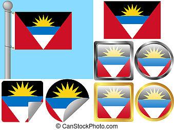 Flag Set Antigua and Barbuda